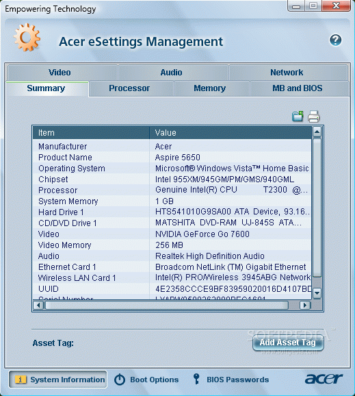 Acer eSettings Management кряк лекарство crack
