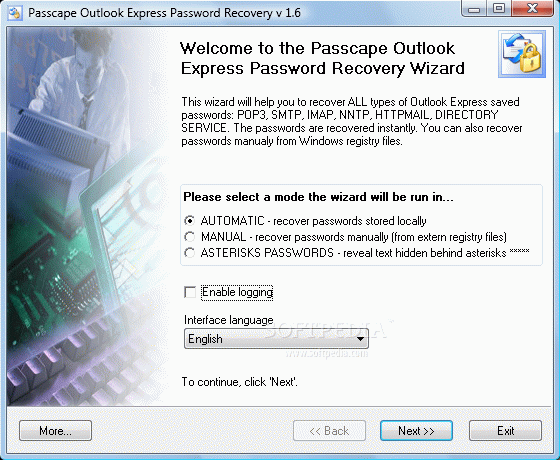 Passcape Outlook Express Password Recovery кряк лекарство crack
